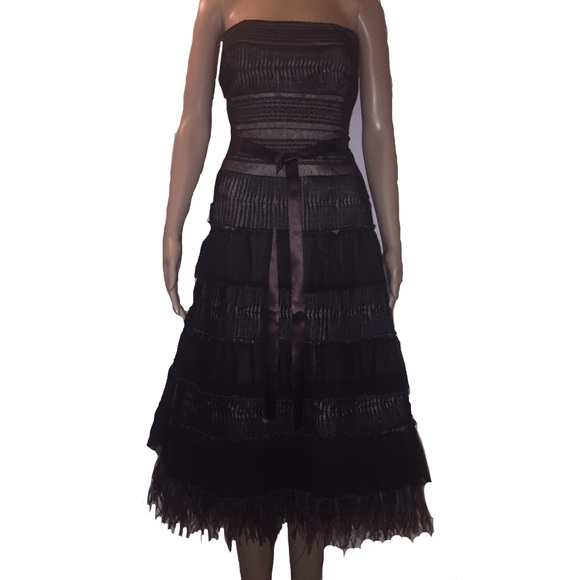 Bcbgmaxazria Dresses Brown Lace Ostrich Feather Tiered Formal